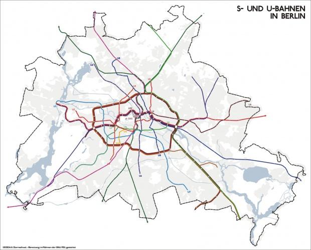Metro y red ferroviaria suburbana de Berlín 2005