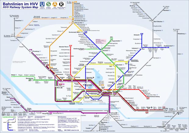 Red de líneas de ferrocarril de la Hamburger Verkehrsverbund (HVV)