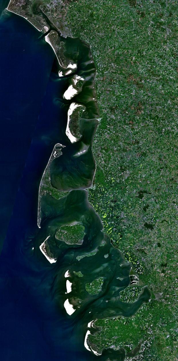 Vista satelital de las Islas Frisias septentrionales