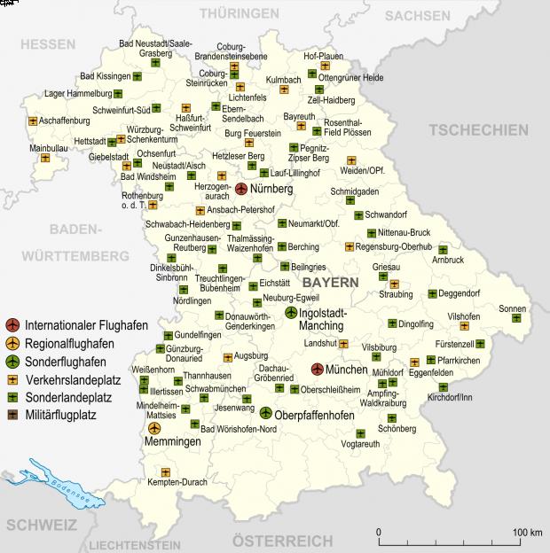 Aeropuertos y aeródromos en Baviera 2007