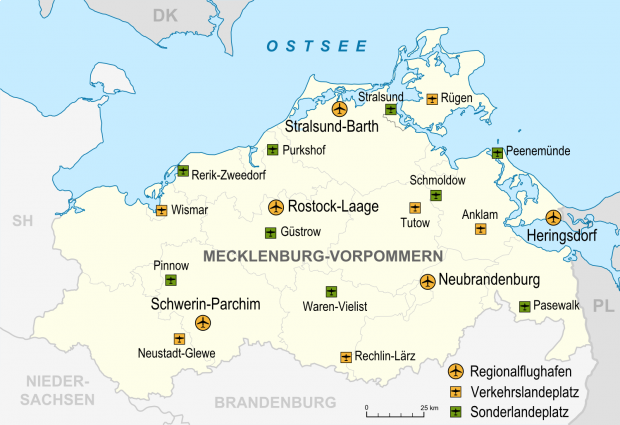 Aeropuertos y aeródromos en Mecklemburgo-Pomerania Occidental 2007