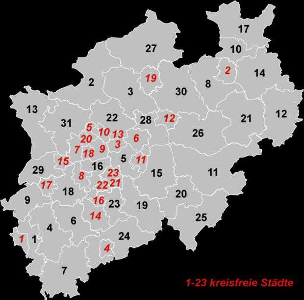 Mapa de Renania del Norte-Westfalia 2007