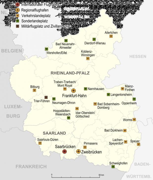 Aeropuertos y aeródromos en Renania-Palatinado 2007