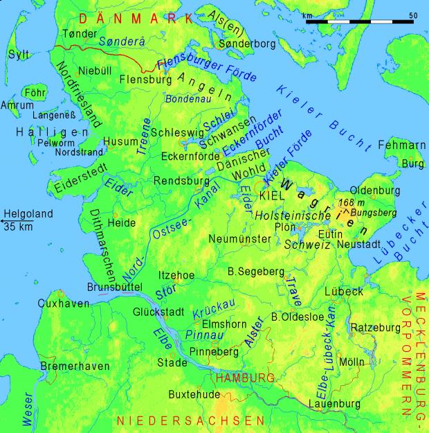 Mapa físico de Schleswig-Holstein 2008