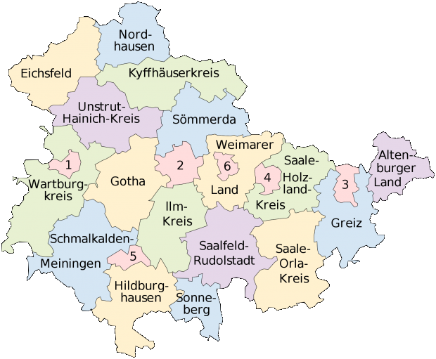 Mapa de Turingia 2008