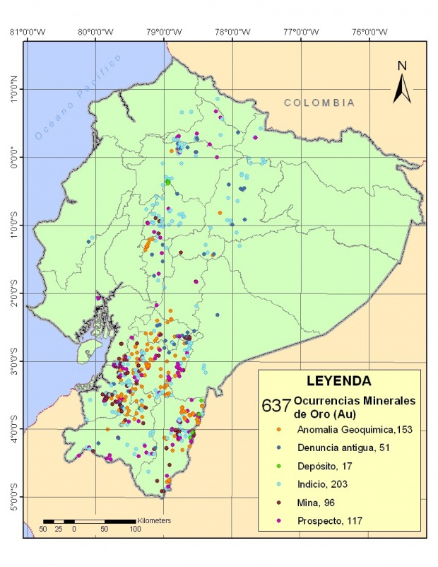Mapa de Ocurrencias de oro en Ecuador