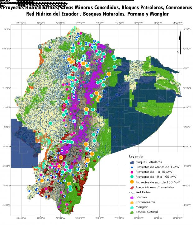 Mapa de Proyectos hidroelectricos, areas mineras concedidas, bloques petroleros, camaroneras, red hidrica, bosques naturales, paramo y manglar del Ecuador