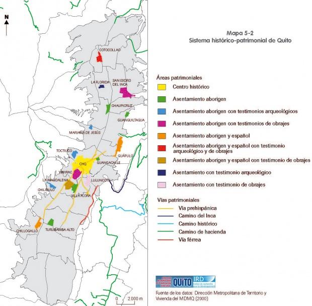 Mapa de Áreas Histórico-patrimoniales de Quito 2000