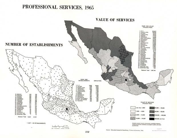 Mapa de Los Servicios Profesionales en México 1965