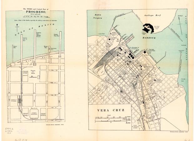 Mapa de Ciudades Portuarias: Progreso y Veracruz 1919