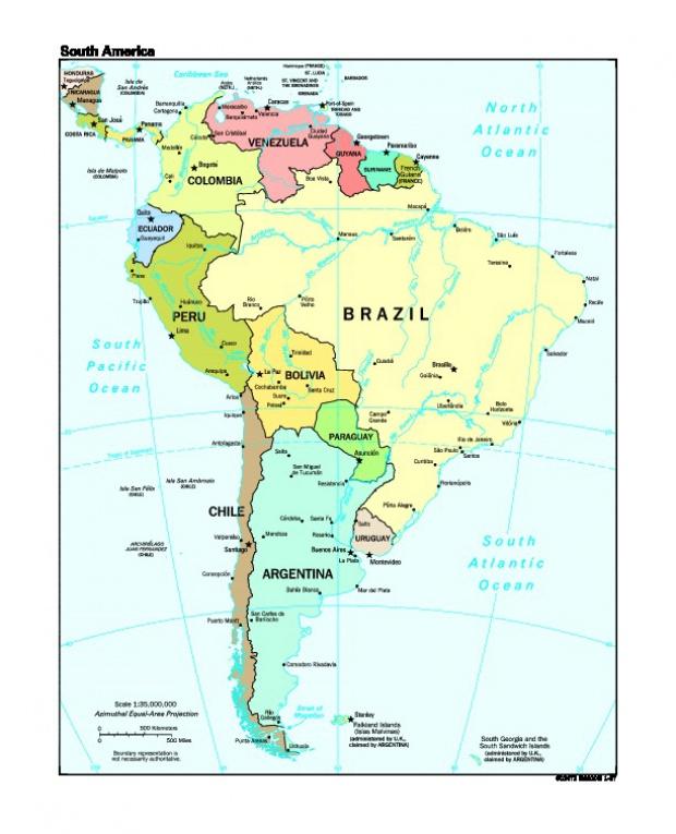 Mapa Político de América del Sur 1997