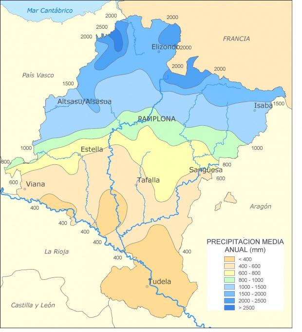 Mapa de Precipitación media anual en Navarra