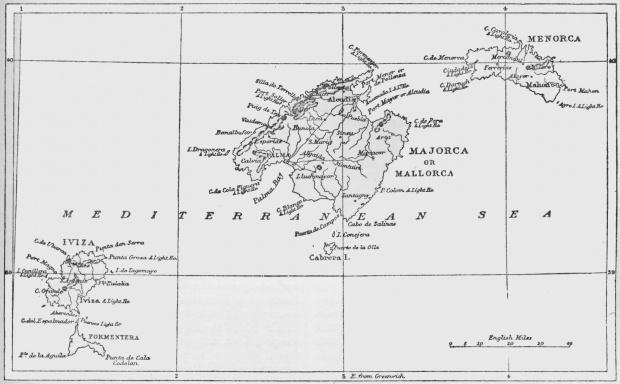 Mapa de Las Islas Baleares 1875