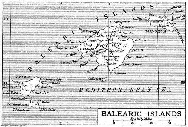 Mapa de Las Islas Baleares 1906