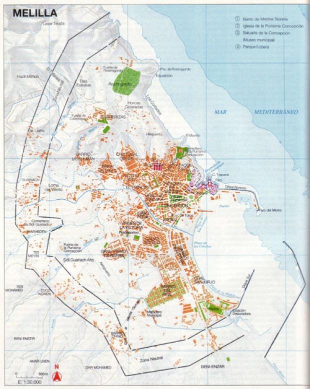 Mapa de la Ciudad de Melilla