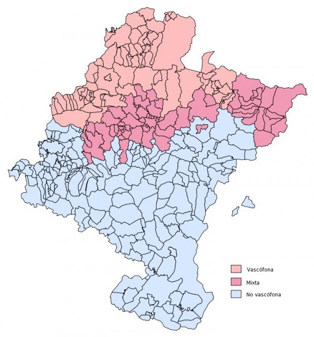 Mapa de Zonas vascófona, mixta y no vascófona en Navarra