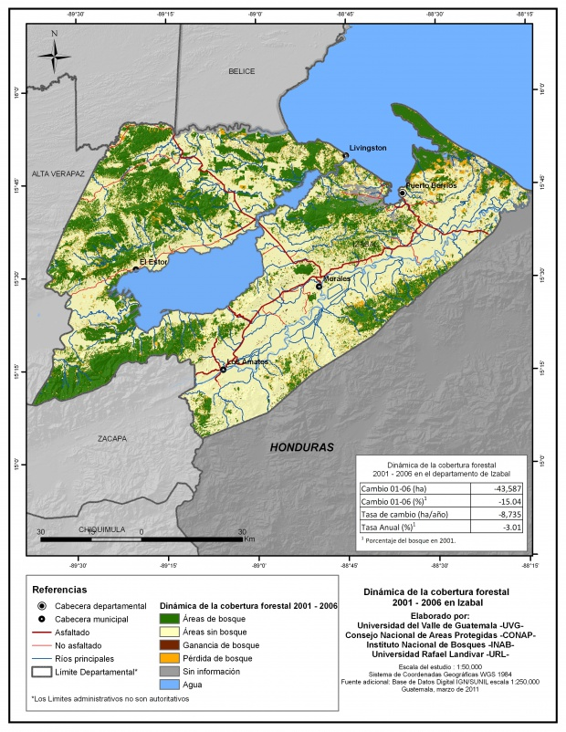 Cobertura forestal en el Departamento de Izabal 2001-2006