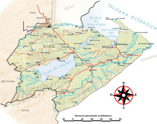 Mapa físico de Izabal