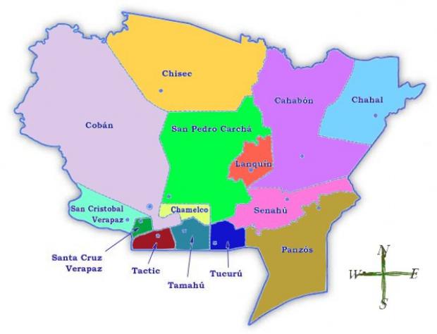 Mapa político de Alta Verapaz