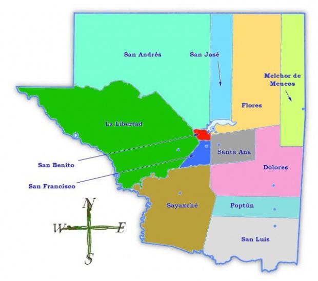 Mapa político de Petén