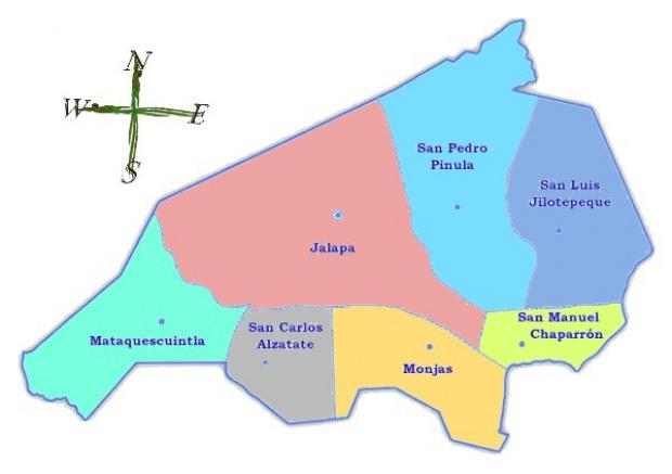Mapa político de Jalapa