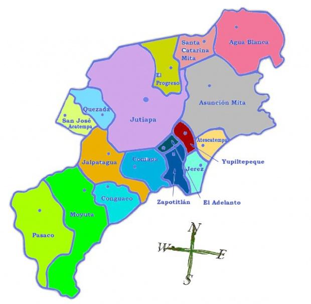Mapa político de Jutiapa