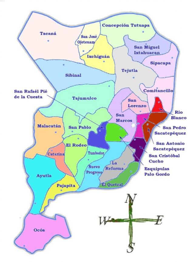Mapa político de San Marcos