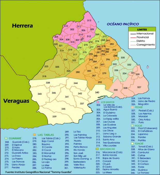 Mapa político de Los Santos