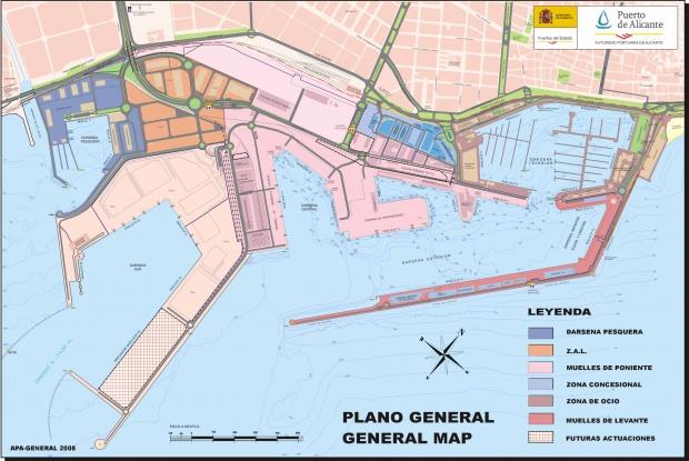 Plano del puerto de Alicante 2008