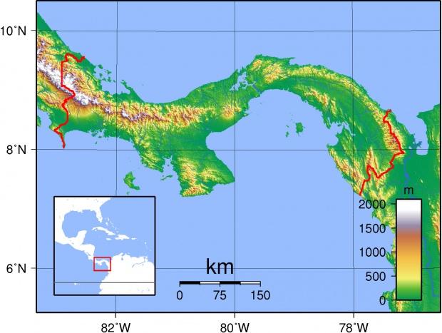 Mapa topográfico de Panamá 2007