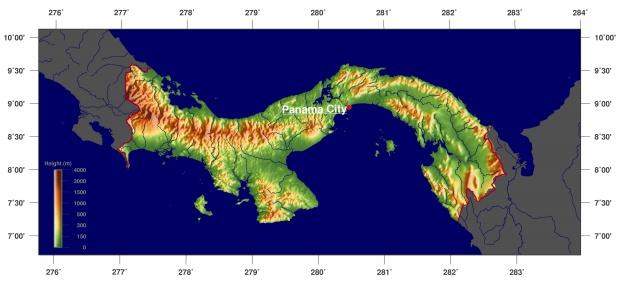Mapa físico de Panamá