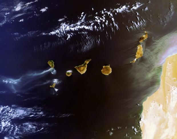 Mapa de las las Islas Canarias (satelital)