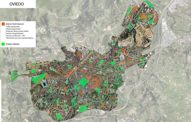 Áreas peatonales y zonas verdes de Oviedo