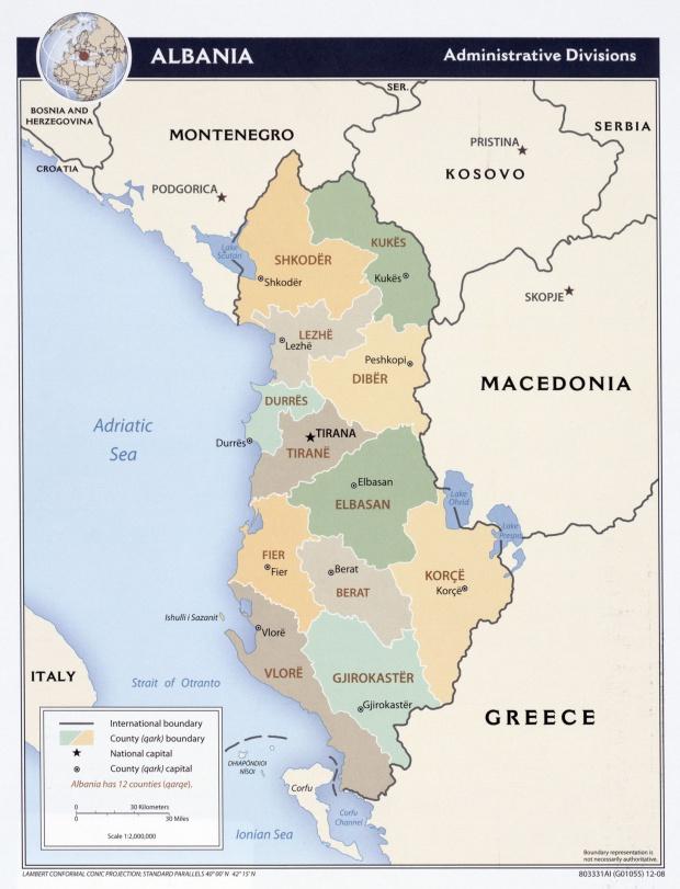 Condados de Albania 2008