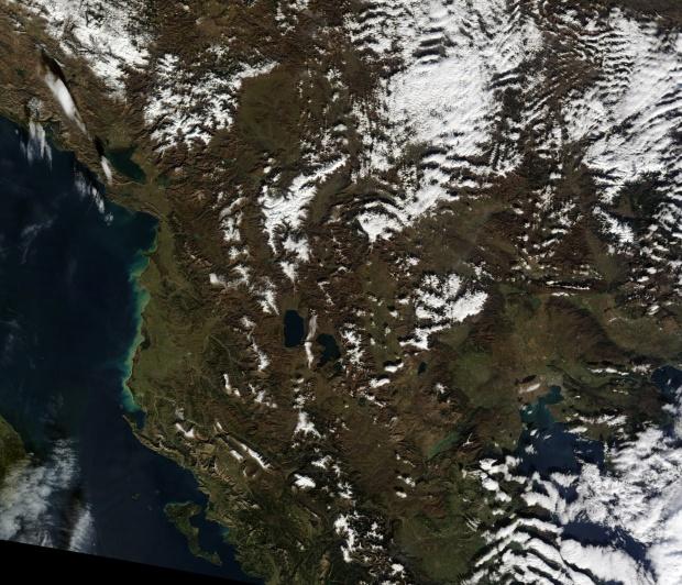 Vista satelital de Albania 2011