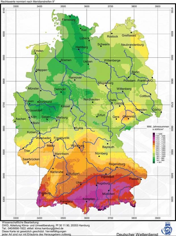 Lámina del Mapa de Radiación solar en el país de Alemania