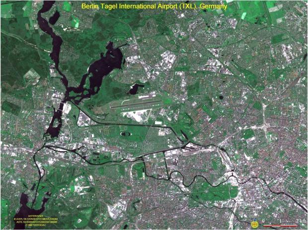 Mapa General del Aeropuerto de Berlín-Tegel Vista desde un satélite