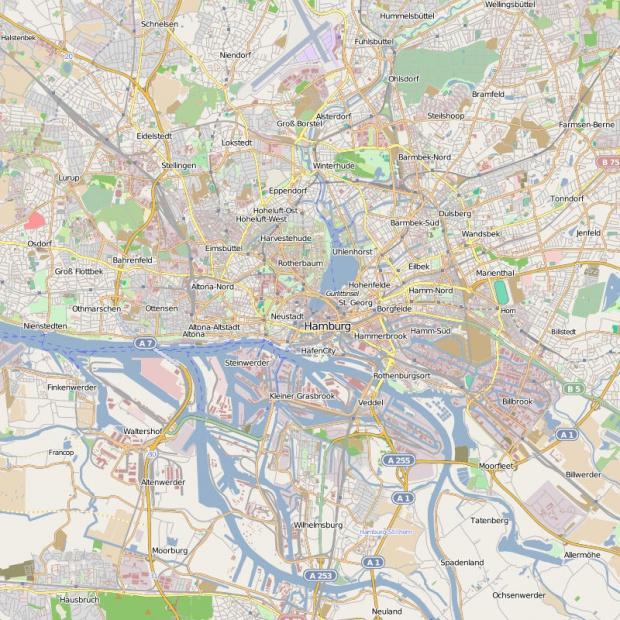 Mapa General de La ciudad de Hamburgo