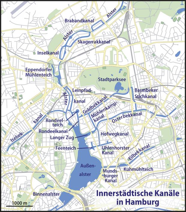 Mapa de Canales en Hamburgo 2009