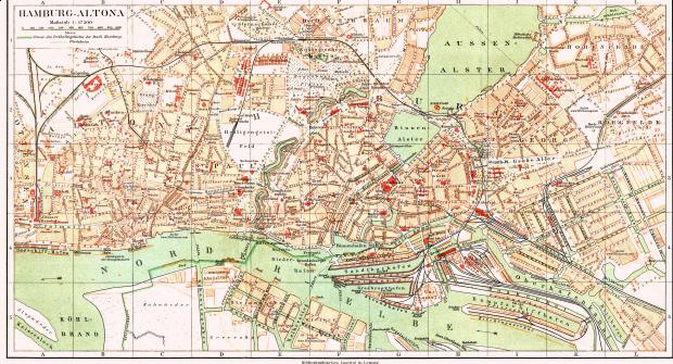 Mapa de Hamburgo y Altona alrededor de 1890