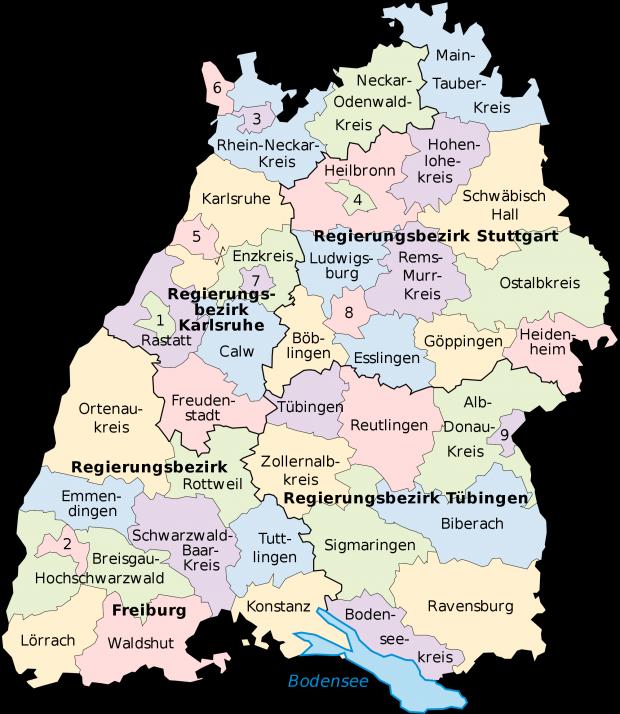 Mapa politico de Baden-Wurtemberg 2008 Alemania