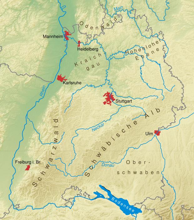 Mapa físico de Baden-Wurtemberg 2008