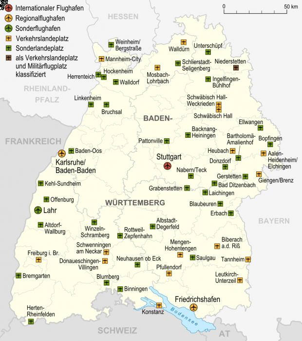 Mapa de Aeropuertos y aeródromos en Baden-Württemberg 2007