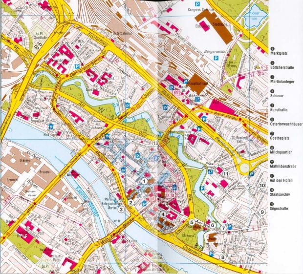 Mapa de Centro de la ciudad de Bremen Alemania