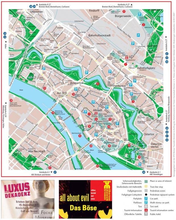 Mapa turístico de Bremen 2007