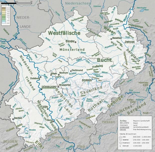 Mapa de Principales cadenas de montañas, ríos y paisajes de Renania del Norte-Westfalia 2009