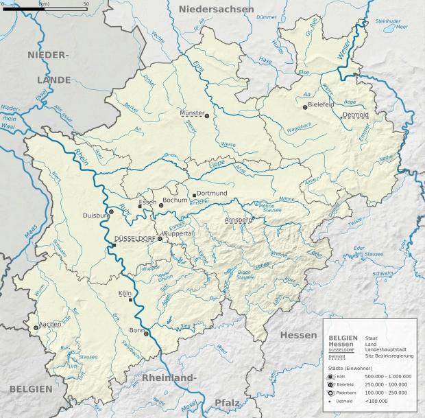 Mapa de Ríos y el relieve de Renania del Norte-Westfalia 2009