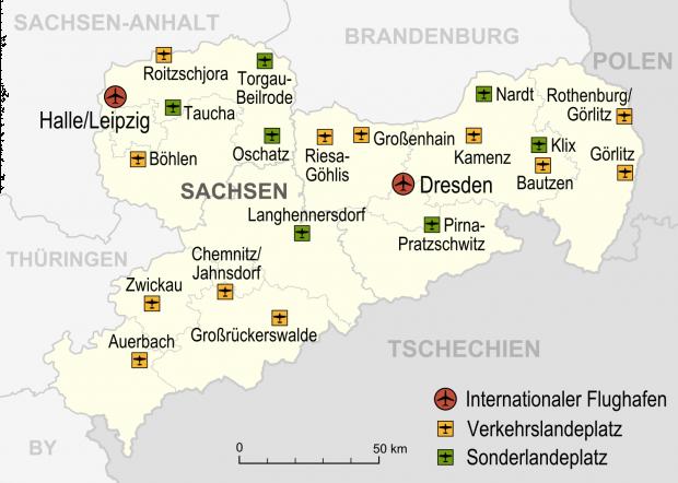 Mapa de Aeropuertos y aeródromos en Sajonia 2007