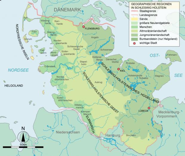 Mapa de Paisajes naturales en Schleswig-Holstein 2007
