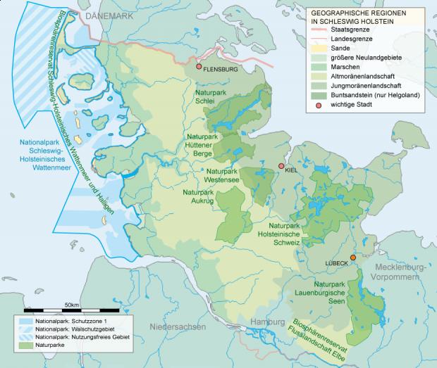 Mapa de Parques nacionales y naturales en Schleswig-Holstein 2007